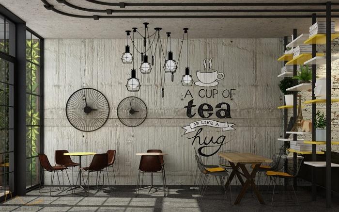 Quán trà sữa trang trí theo phong cách vintage
