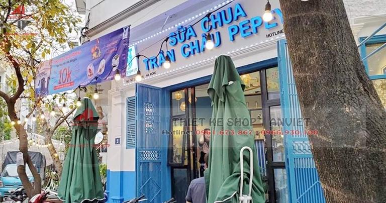 Mẫu thiết kế nội thất tiệm Trà Sữa Trân Châu 60m2