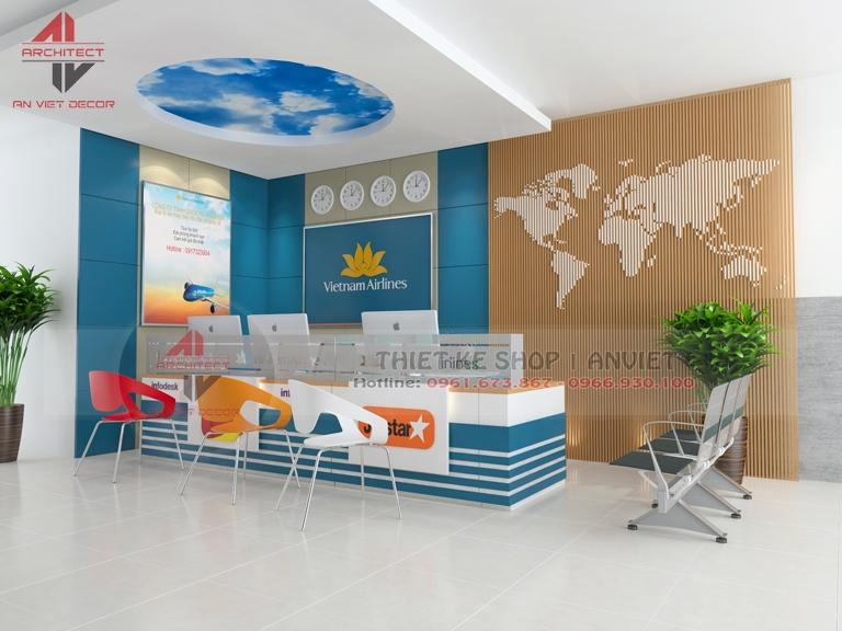 Mẫu thiết kế nội thất văn phòng bán vé máy bay đẹp 20m2