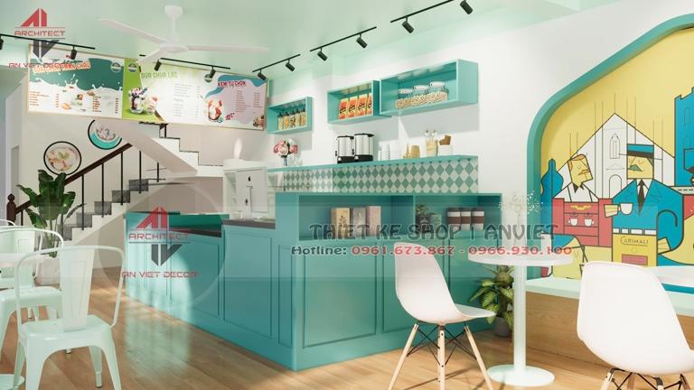 Thiết kế chuỗi cửa hàng nhượng quyền Sữa Chua Trân Châu 50m2