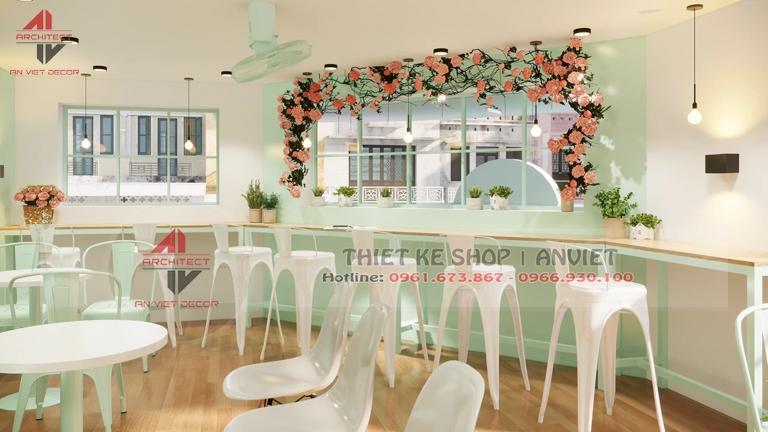 Thiết kế chuỗi cửa hàng Trà Sữa Trân Châu 50m2