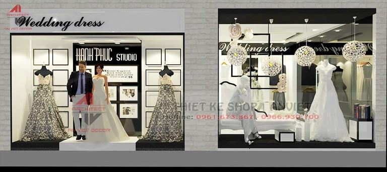 thiết kế biển bảng studio thuê áo cưới hạnh phúc