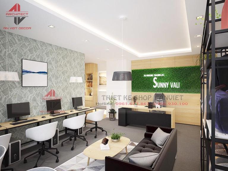 Trang trí nội thất văn phòng đẹp 45m2 tại Hà Nội