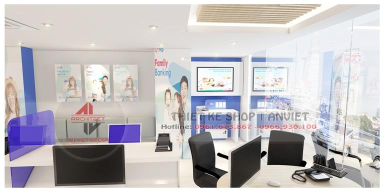 Thiết kế nội thất văn phòng làm việc MB Bank 80m2 tại Hà Nội 2