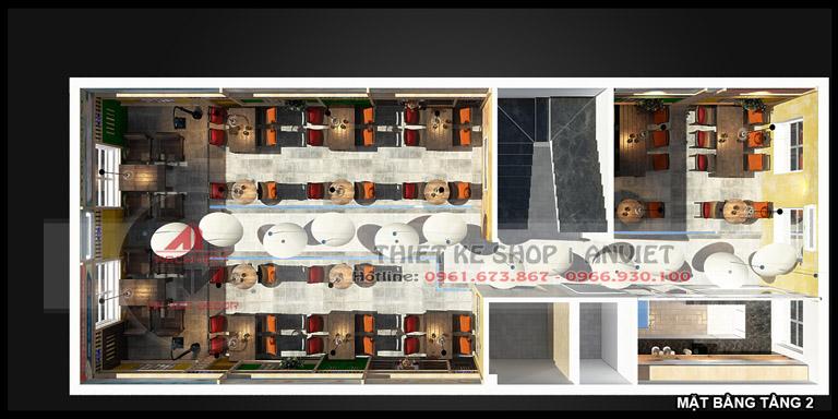 Thiết kế quán cafe 3 tầng hiện đại 180m2 tại Hà Nội 12