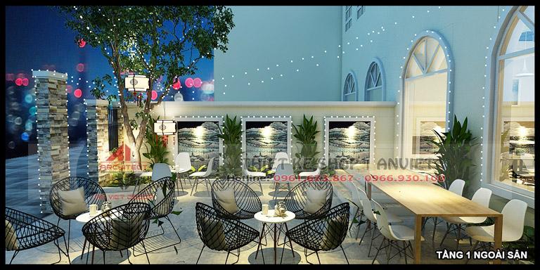 Thiết kế quán cafe 3 tầng hiện đại 180m2 tại Hà Nội 14