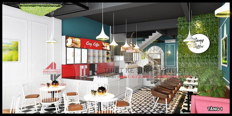 Thiết kế quán cafe 3 tầng hiện đại 180m2 tại Hà Nội 2