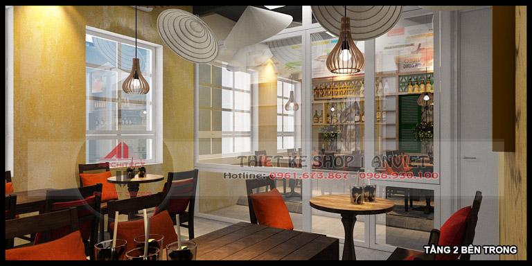 Thiết kế quán cafe 3 tầng hiện đại 180m2 tại Hà Nội 8