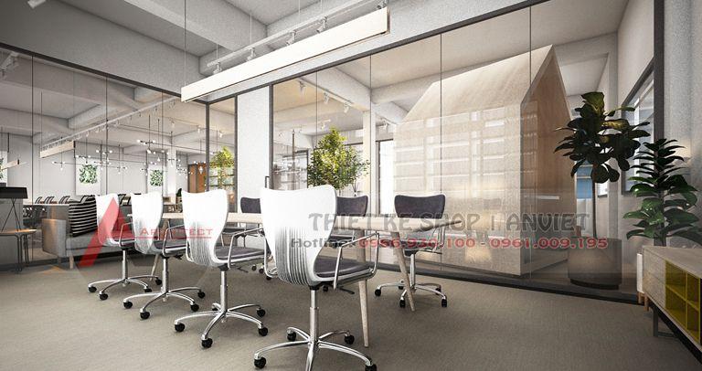 Thiết kế và thi công nội thất văn phòng cao cấp chuyên nghiệp 200m2
