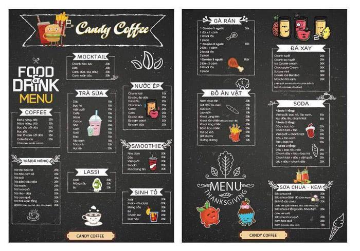 5 Kiểu thiết kế menu cho quán cafe ĐẸP BẮT MẮT - MENU LOẠI 1 TỜ