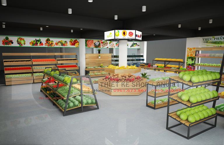 Mẫu thiết kế siêu thị mini bán thực phẩm sạch 60m2 tại Hà Nội -1