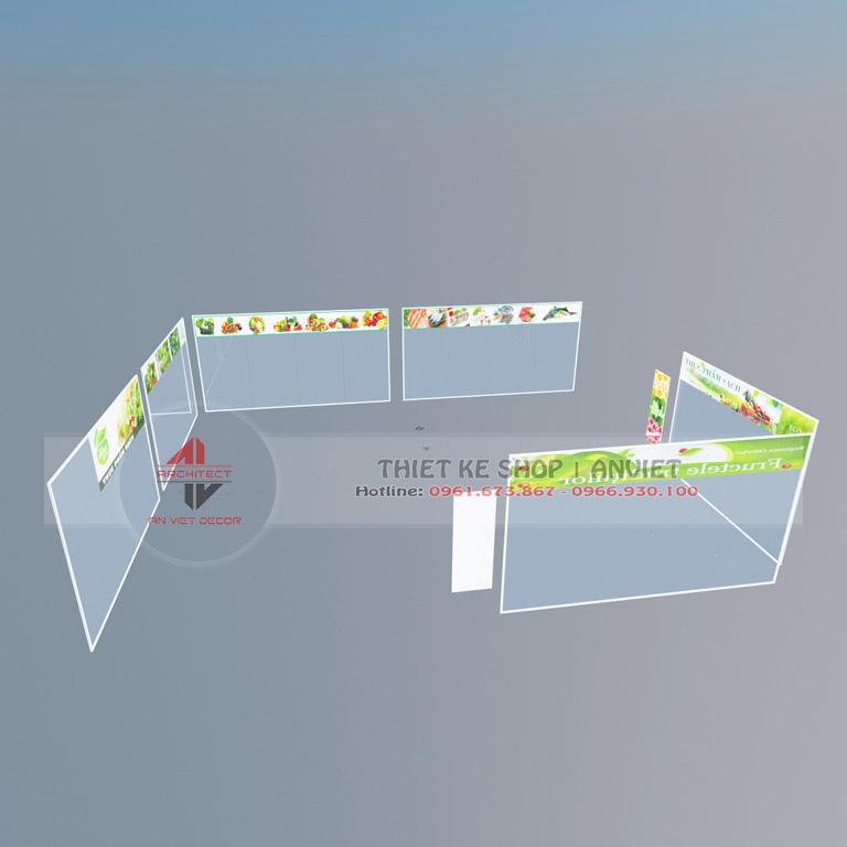 Mẫu thiết kế siêu thị mini bán thực phẩm sạch 60m2 tại Hà Nội - kệ trưng bày