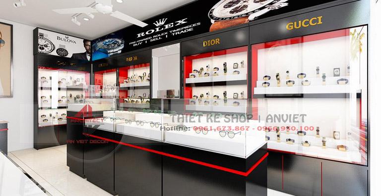 Thiết kế cửa hàng đồng hồ kính mắt hiện đại 40m2 tại Sóc Sơn 2