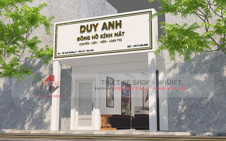 Thiết kế cửa hàng đồng hồ kính mắt hiện đại 40m2 tại Sóc Sơn 1