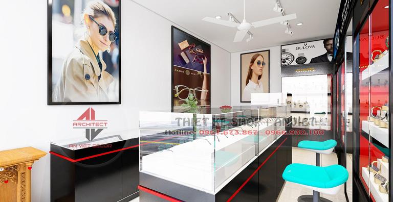 Thiết kế cửa hàng đồng hồ kính mắt hiện đại 40m2 tại Sóc Sơn 3
