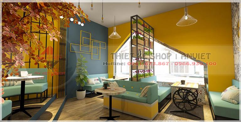Thiết kế cải tạo nội thất quán trà sữa 30m2 tại Hòa Bình
