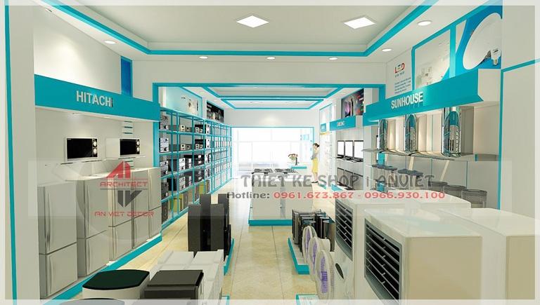 thiết kế nội thất showroom điện máy 200m2 tại Yên Bái