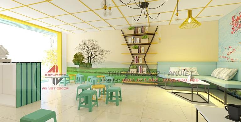 Thiết kế nội thất tiệm trà chanh nhỏ 40m2 HÚT KHÁCH ở HN 1
