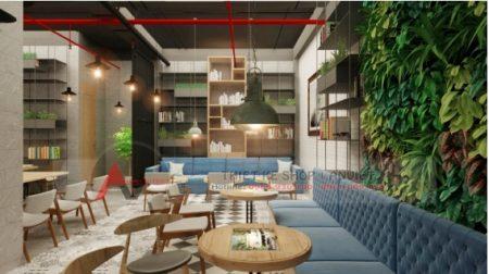 Thiết kế quán cafe sách ấn tượng phong cách hiện đại 250m2