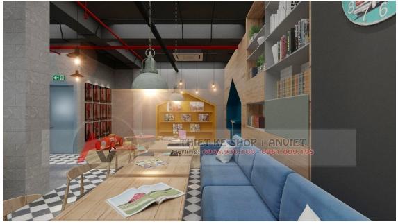 Thiết kế quán cafe sách ấn tượng phong cách hiện đại 250m2 10