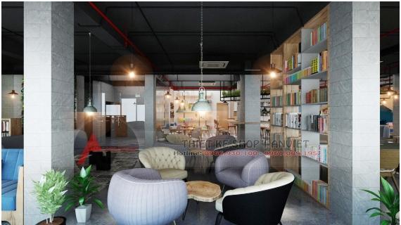 Thiết kế quán cafe sách ấn tượng phong cách hiện đại 250m2 11