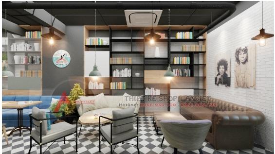 Thiết kế quán cafe sách ấn tượng phong cách hiện đại 250m2 12