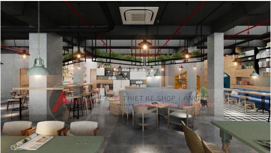 Thiết kế quán cafe sách ấn tượng phong cách hiện đại 250m2 6