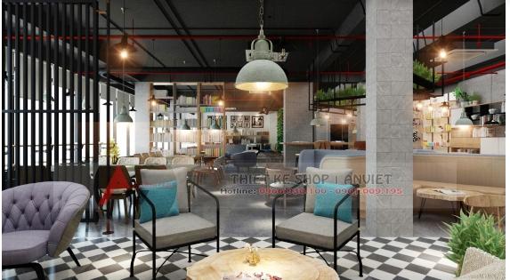 Thiết kế quán cafe sách ấn tượng phong cách hiện đại 250m2 7