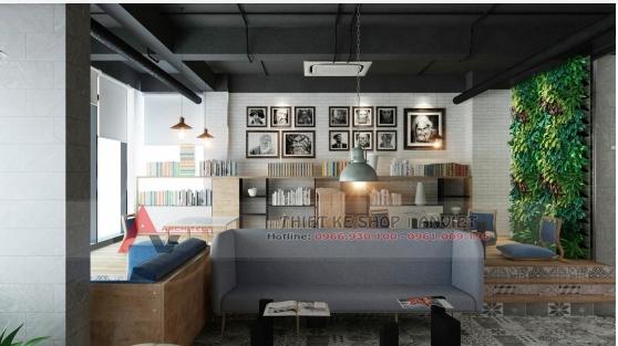 Thiết kế quán cafe sách ấn tượng phong cách hiện đại 250m2 9