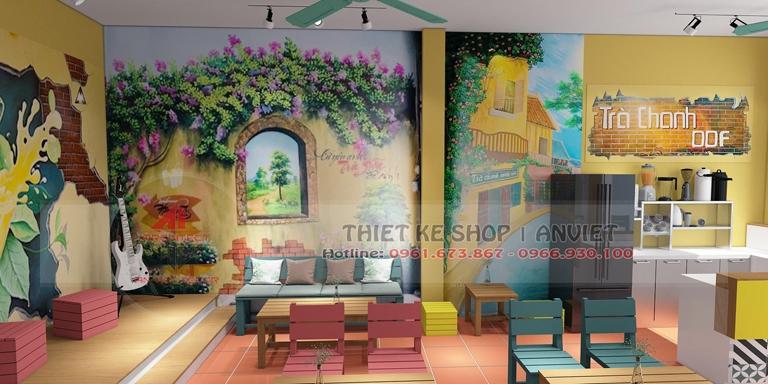 Thiết kế quán trà chanh kiểu bao cấp cực hút giới trẻ tại Quảng Ninh 2