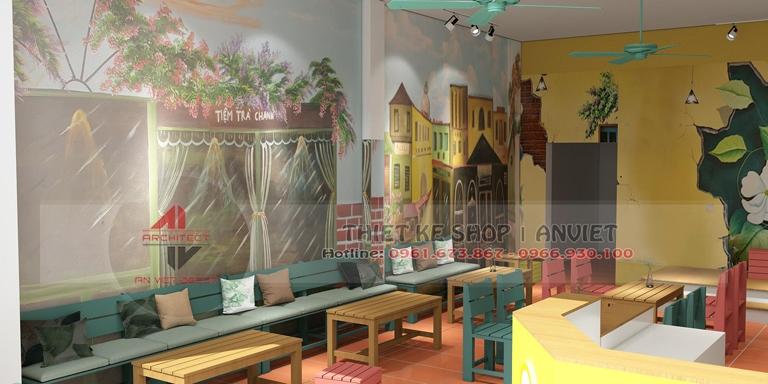 Thiết kế quán trà chanh kiểu bao cấp cực hút giới trẻ tại Quảng Ninh 3