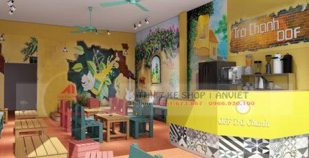 Thiết kế quán trà chanh kiểu bao cấp cực hút giới trẻ tại Quảng Ninh