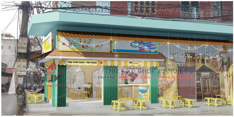 Thiết kế tiệm kem trà chanh ĐẸP HÚT KHÁCH 50m2 tại Hưng Yên - biển bảng ngoài trời