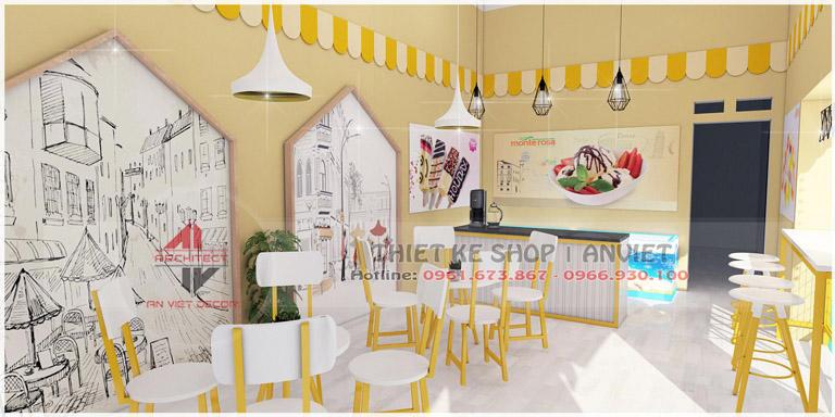 Thiết kế tiệm kem trà chanh ĐẸP HÚT KHÁCH 50m2 tại Hưng Yên - nội thất tiệm kem