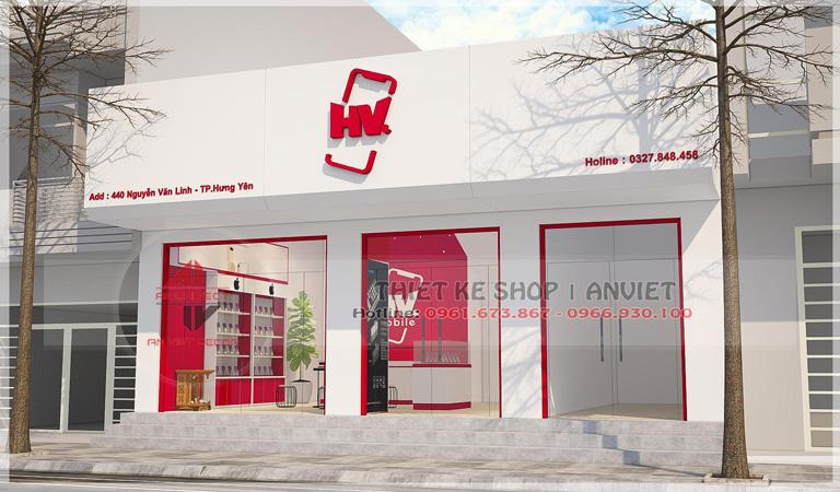 Mẫu thiết kế cửa hàng điện thoại HV Mobile tại Hưng Yên 1