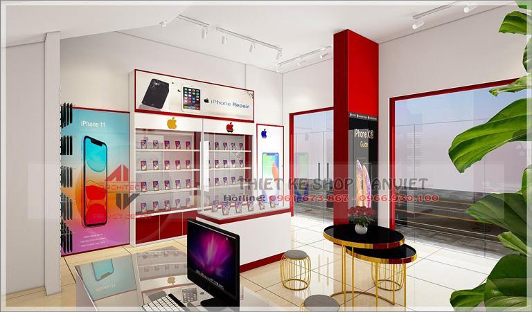 Mẫu thiết kế cửa hàng điện thoại HV Mobile tại Hưng Yên 2