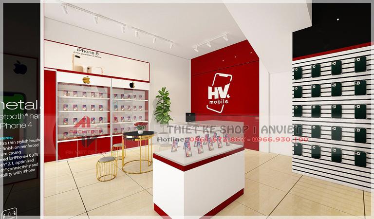 Mẫu thiết kế cửa hàng điện thoại HV Mobile tại Hưng Yên 3