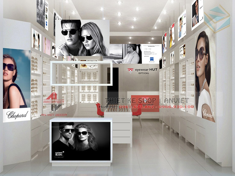 Mẫu thiết kế cửa hàng kính mắt nhỏ đẹp 30m2 1