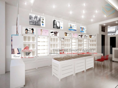 Mẫu thiết kế cửa hàng kính mắt nhỏ đẹp 30m2