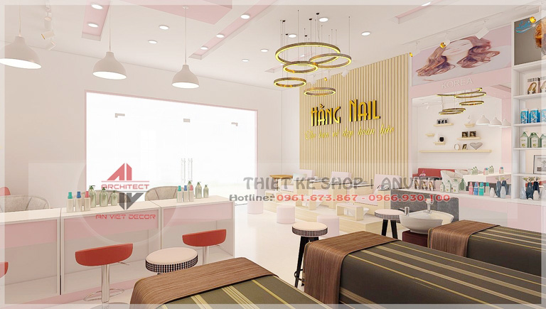 Mẫu thiết kế nội thất tiệm nail 50m2 ở Lạng Sơn 2