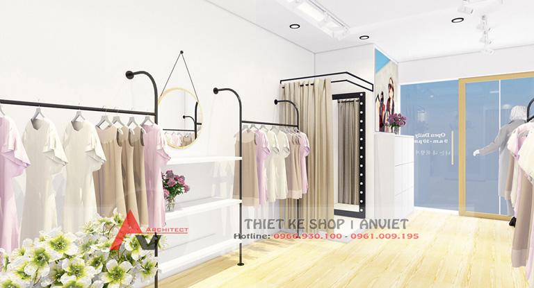 Mẫu thiết kế shop thời trang nữ AboutA nhỏ đẹp 30m2 tại Hà Nội 2