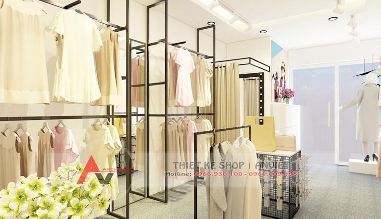 Mẫu thiết kế shop thời trang nữ AboutA nhỏ đẹp 30m2 tại Hà Nội 3