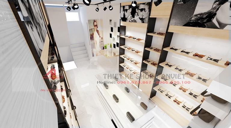 Thiết kế nội thất shop kính mắt thời trang hiện đại 30m2 2
