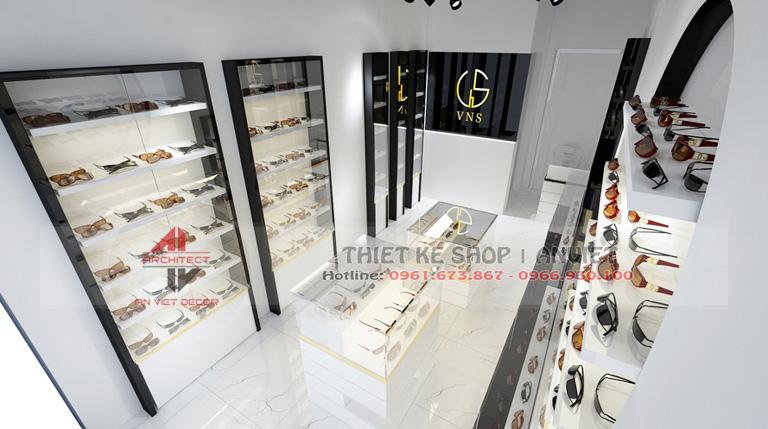 Thiết kế nội thất shop kính mắt thời trang hiện đại 30m2 3