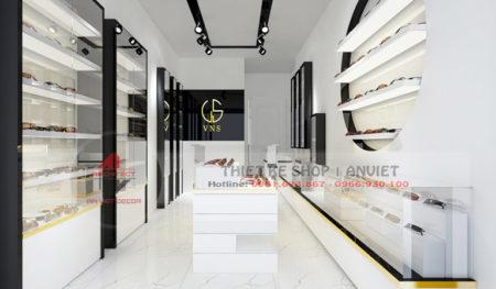 Thiết kế nội thất shop kính mắt thời trang hiện đại 30m2