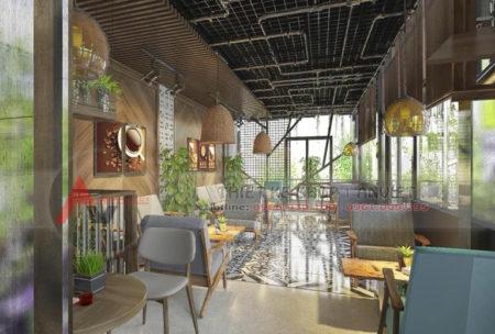 Thiết kế nội thất quán cafe khung thép hiện đại 120m2