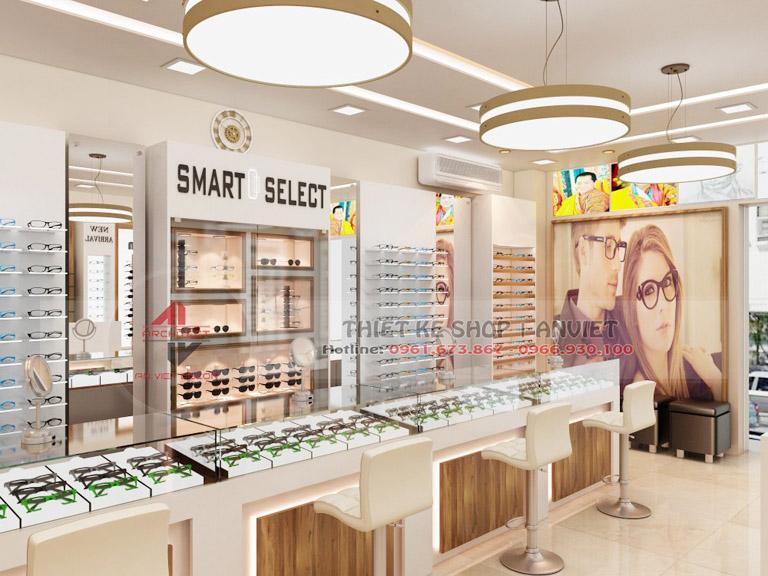 Thiết kế showroom trưng bày kính mắt thời trang 60m2 1