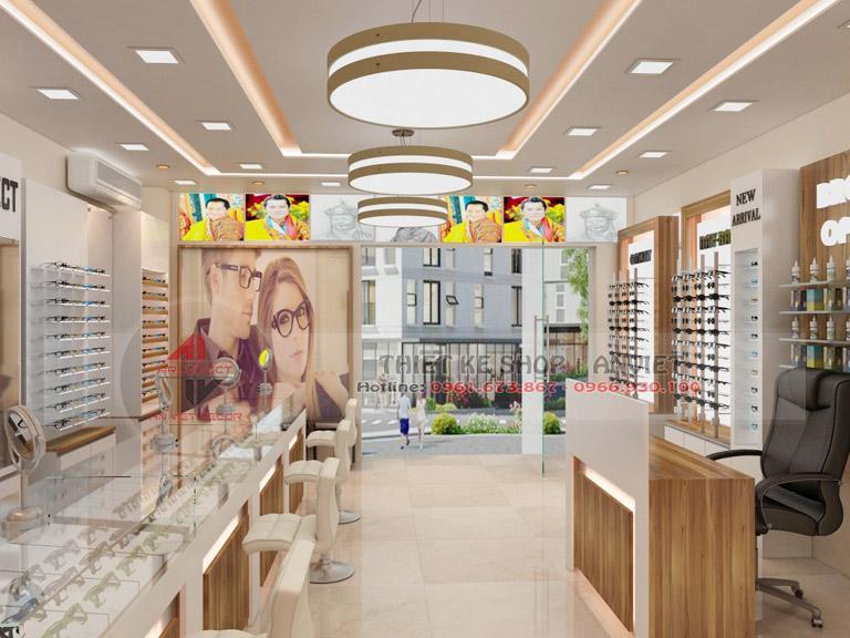 Thiết kế showroom trưng bày kính mắt thời trang 60m2 2