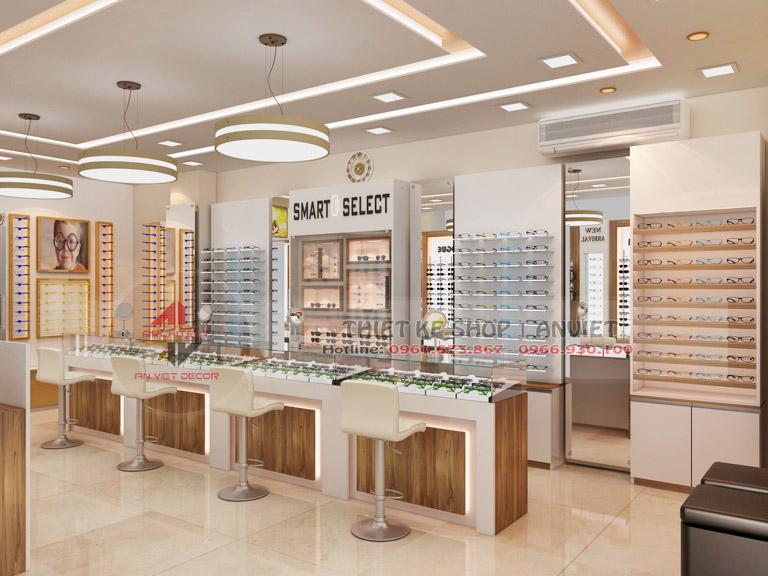 Thiết kế showroom trưng bày kính mắt thời trang 60m2 3