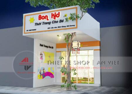 Mẫu thiết kế cửa hàng thời trang cho bé Bon Kids ở Hải Dương